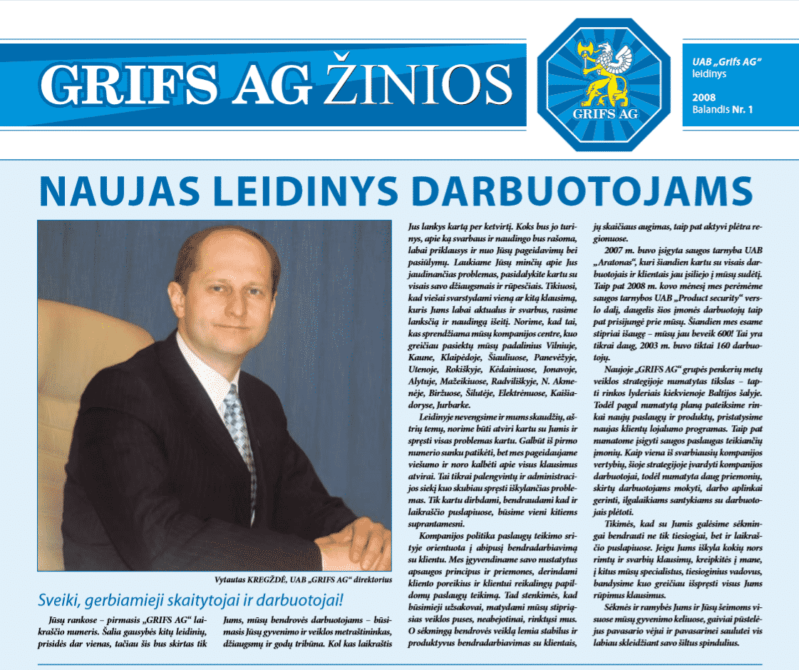 "UAB ""Grifs AG"" leidinys 2008 Balandis Nr. 1"