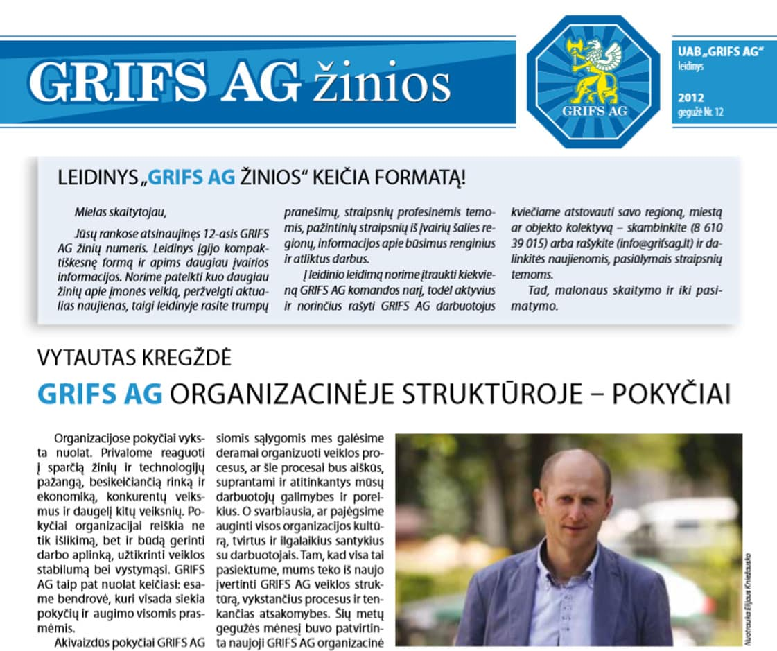 """UAB """"Grifs AG"""" leidinys 2012 gegužė Nr. 12"""