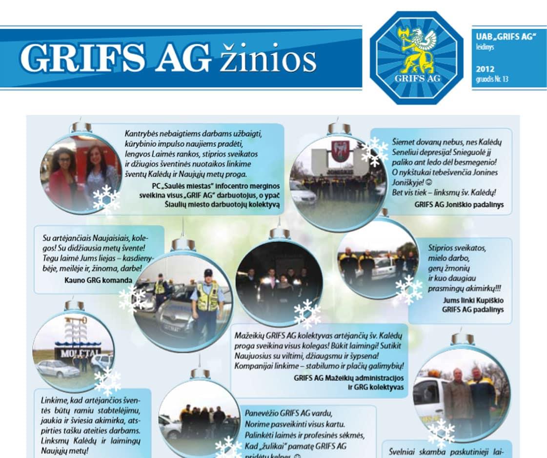 """UAB """"Grifs AG"""" leidinys 2012 gruodis Nr. 13"""