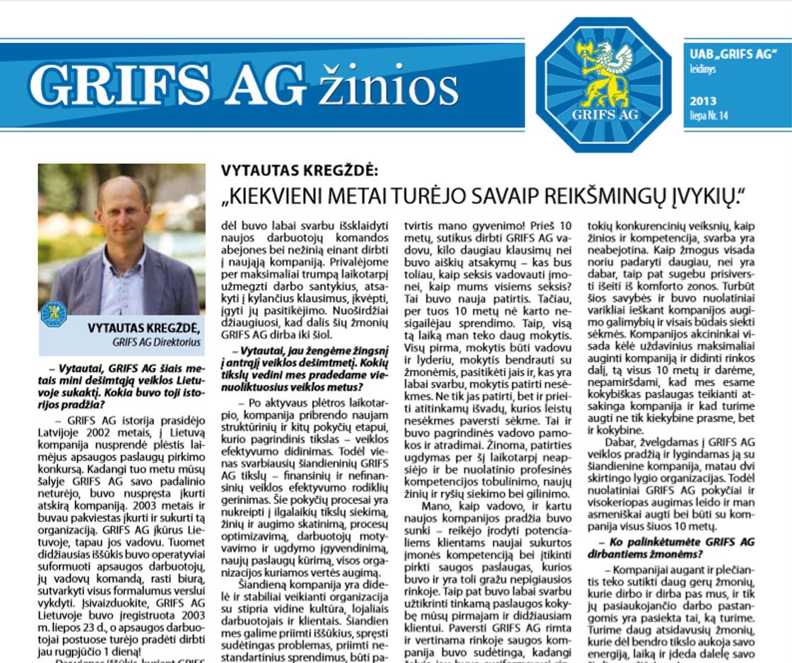 """UAB """"Grifs AG"""" leidinys 2013 liepa Nr. 14"""