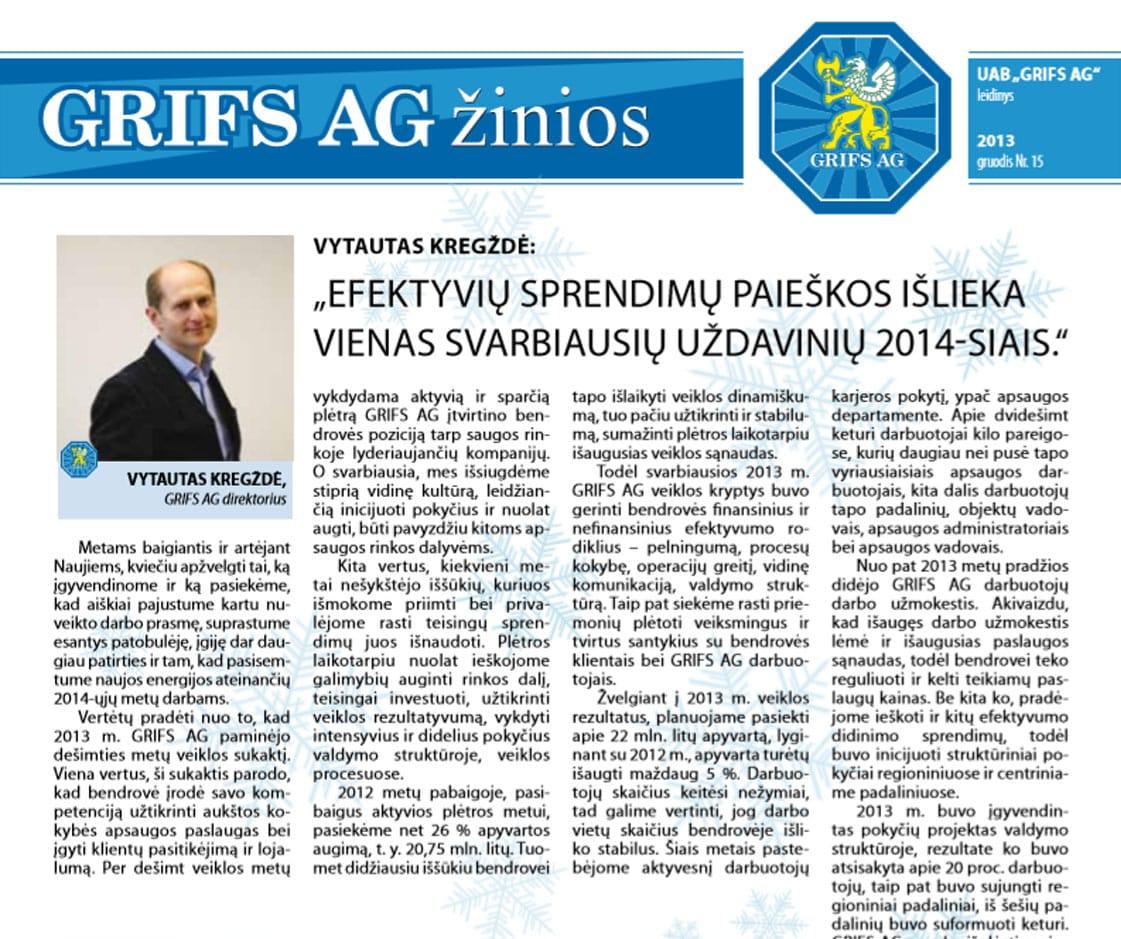 """UAB """"Grifs AG"""" leidinys 2013 gruodis Nr. 15"""