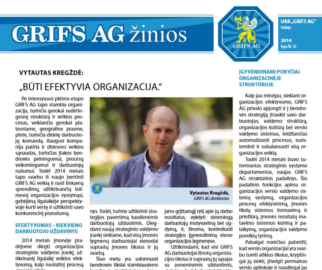 """UAB """"Grifs AG"""" leidinys 2014 liepa Nr. 16"""