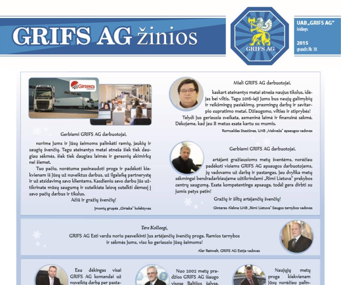 """UAB """"Grifs AG"""" leidinys 2015 gruodis Nr. 18"""