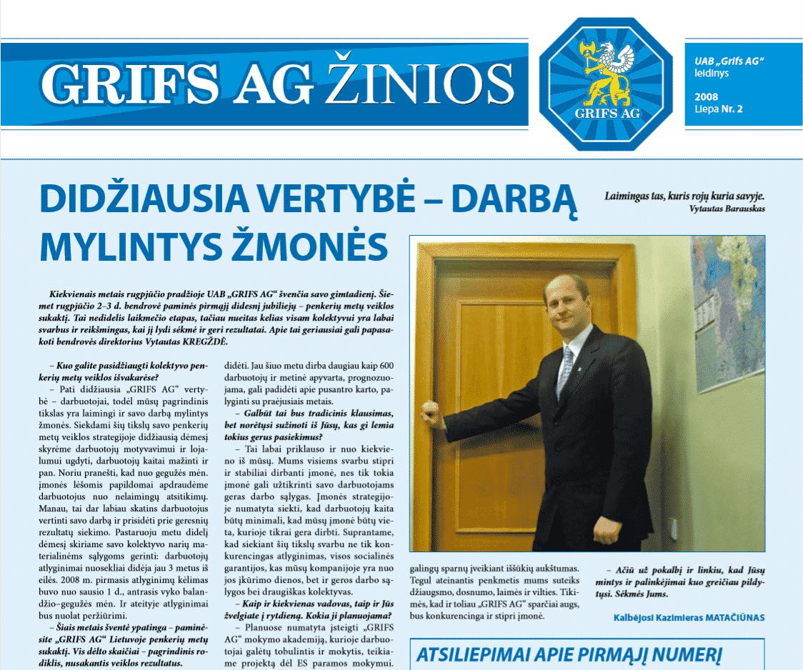 """UAB """"Grifs AG"""" leidinys 2008 Liepa Nr. 2"""