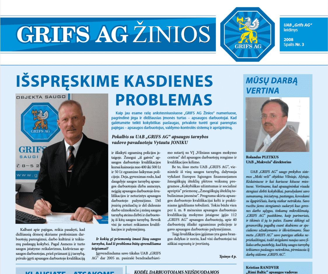 """UAB """"Grifs AG"""" leidinys 2008 Spalis Nr. 3"""
