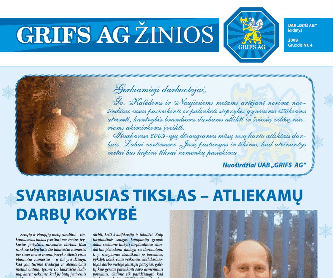 """UAB """"Grifs AG"""" leidinys 2008 Gruodis Nr. 4"""