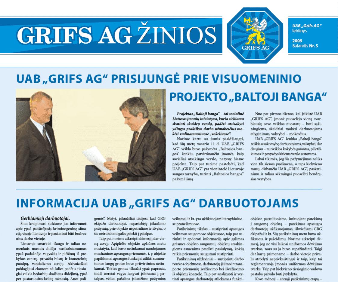 "UAB ""Grifs AG"" leidinys 2009 Balandis Nr. 5"