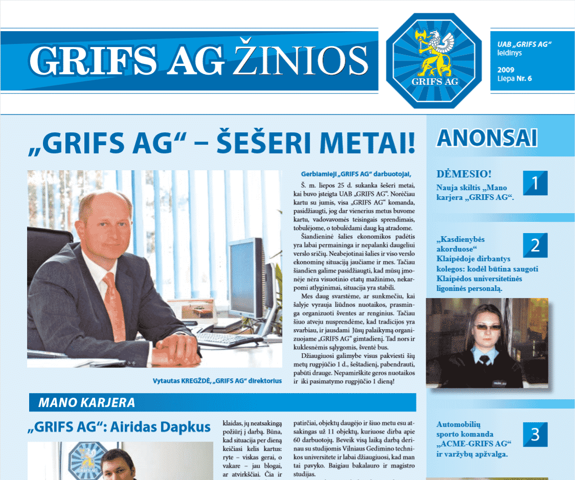 """UAB """"Grifs AG"""" leidinys 2009 Liepa Nr. 6"""